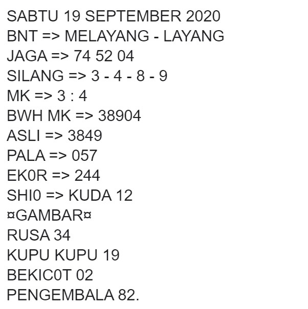 Kode syair Singapore Sabtu 19 September 2020 3