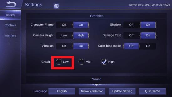 setting grafis di ml agar tidak lag