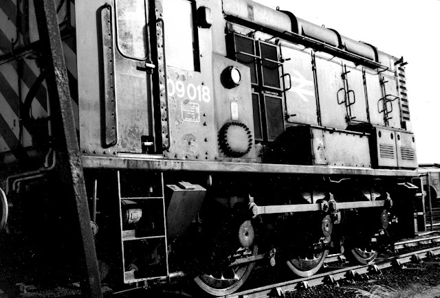 Black and White Photo of Class 09018 Diesel Shunter Locomotive Stands On Sidings Close To Dover Marine Station in the 1990's