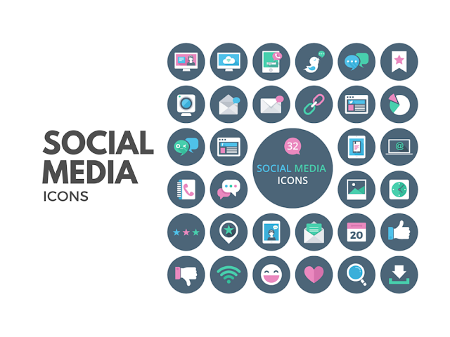 32 Social Media Vector Icons Free Download : Freebie