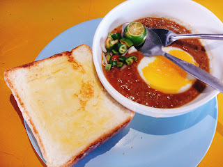 a bowl of Kacang Pool + thick slice of toast