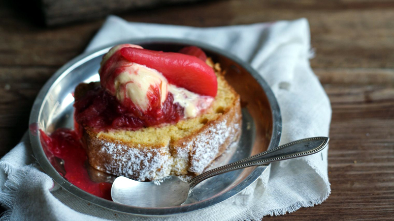 Sour-Cream Vanilla Pound Cake with Rhubarb Compote