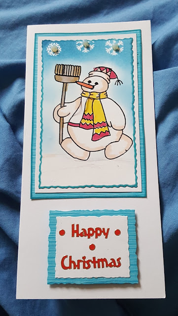 Happy Christmas - Snowman with broom DL card