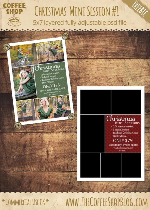 CoffeeShop Christmas Mini Session Photographer Template 1
