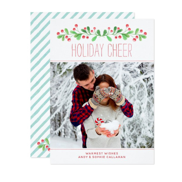 Holiday Cheer Christmas Photo Cards by The Spotted Olive for Zazzle