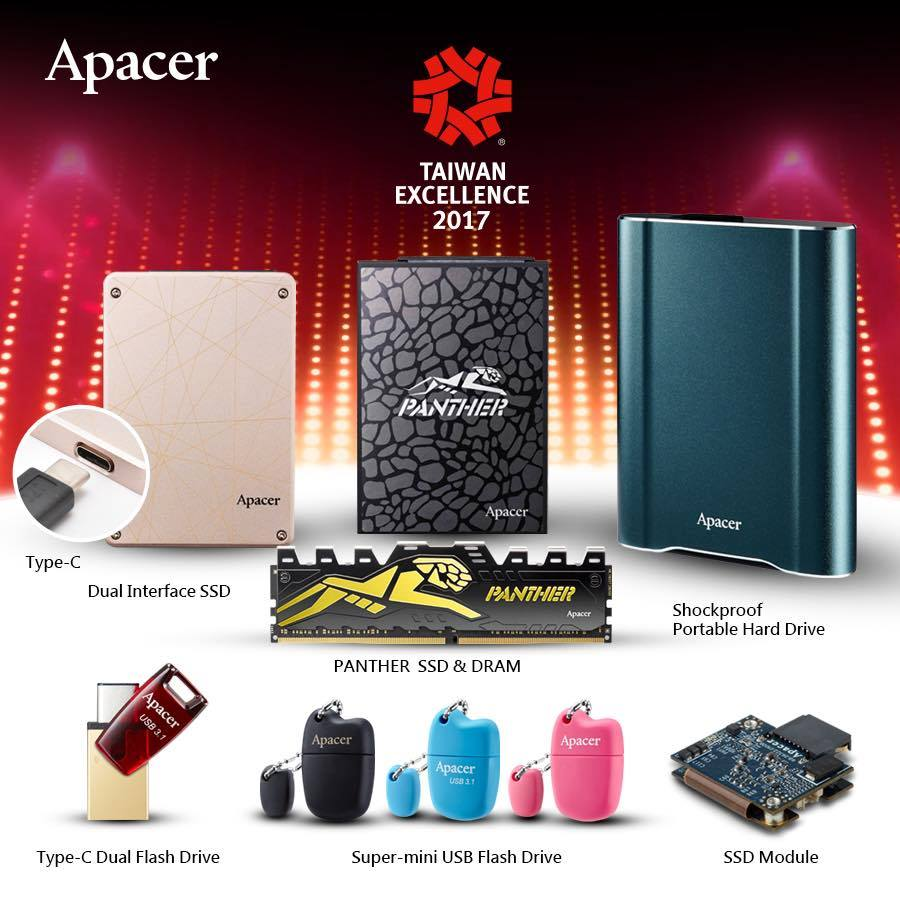 Apacer Wins 8th Streak of Taiwan Excellence