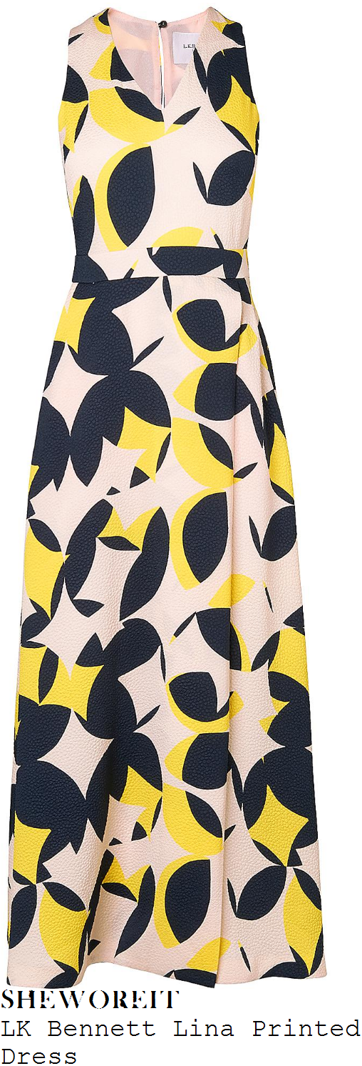amanda-holden-lk-bennett-nude-pink-yellow-and-dark-blue-geometric-leaf-print-sleeveless-v-neck-midi-dress