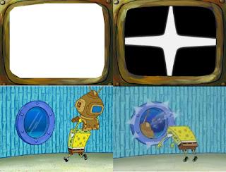 Polosan meme spongebob dan patrick 72 - spongebob marah membuang tv karena acaranya cringe