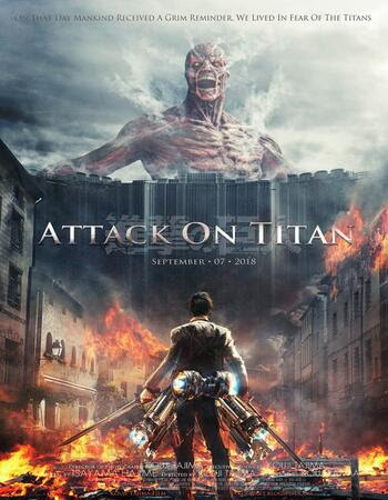 Poster Of Attack on Titan In Dual Audio Hindi Japanese 300MB Compressed Small Size Pc Movie Free Download Only At worldfree4u.com