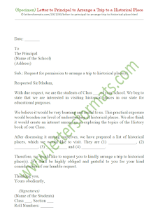 letter to principal to arrange a trip to historical place