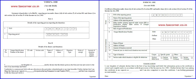 Statement of Donation in Form No. 10BD    Certificate of Donation in Form 10BE    Section 80G(5) and Rule 18AB