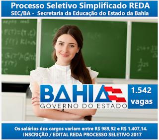 Apostila processo seletivo REDA SECBA 2017 PROFESSOR DE EDUCAÇÃO BÁSICA