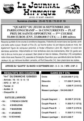 programme quinté Pronostic jeudi 16/09/2021