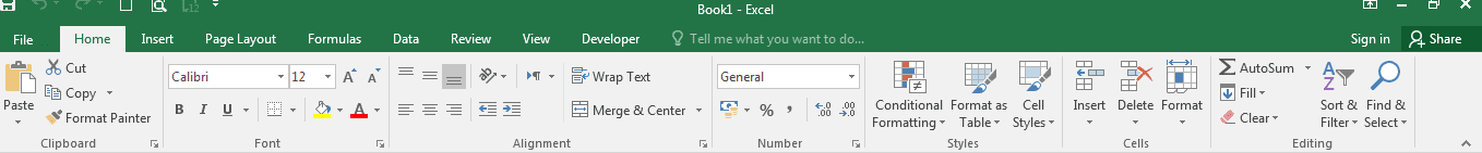 Parts of the Excel Ribbon