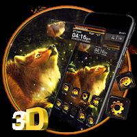 Wolf Shiny Night 3D Glass Tech Theme  Apk free Download