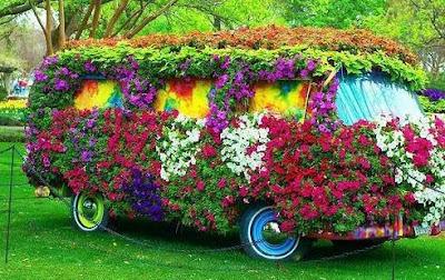 Carro no jardim com flores