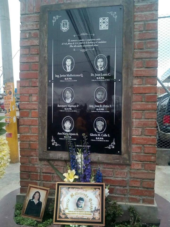 Seis funcionarios alteños perdieron la vida la mañana del 17 de febrero de 2016 / FACEBOOK WILSON SANTAMARÍA