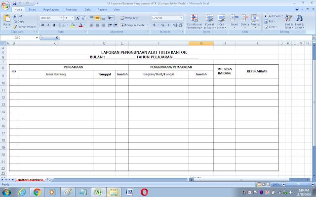 Format laporan bulanan penggunaan alat tulis kantor (ATK)