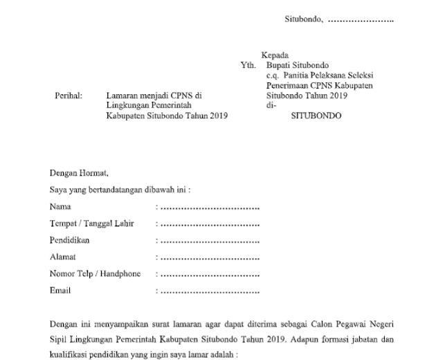 Format Surat lamaran CPNS kepada Bupati