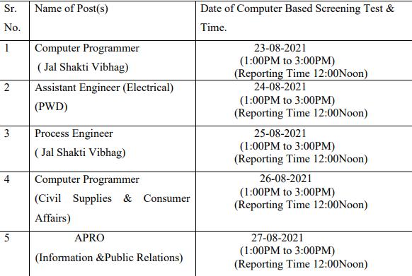 HPPSC Shimla CBT schedule 2021
