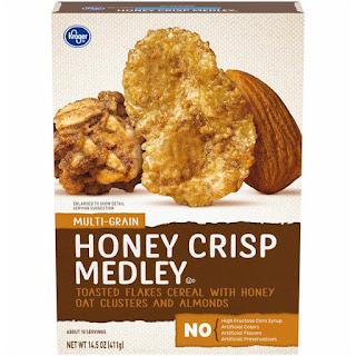 Stock image of Kroger Multi-Grain Honey Crisp Medley Cereal box