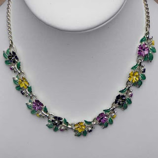 Vintage enamel pansy necklace by Exquisite