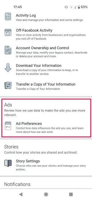 النشاط الإعلاني Facebook Mobile Ad Preferences
