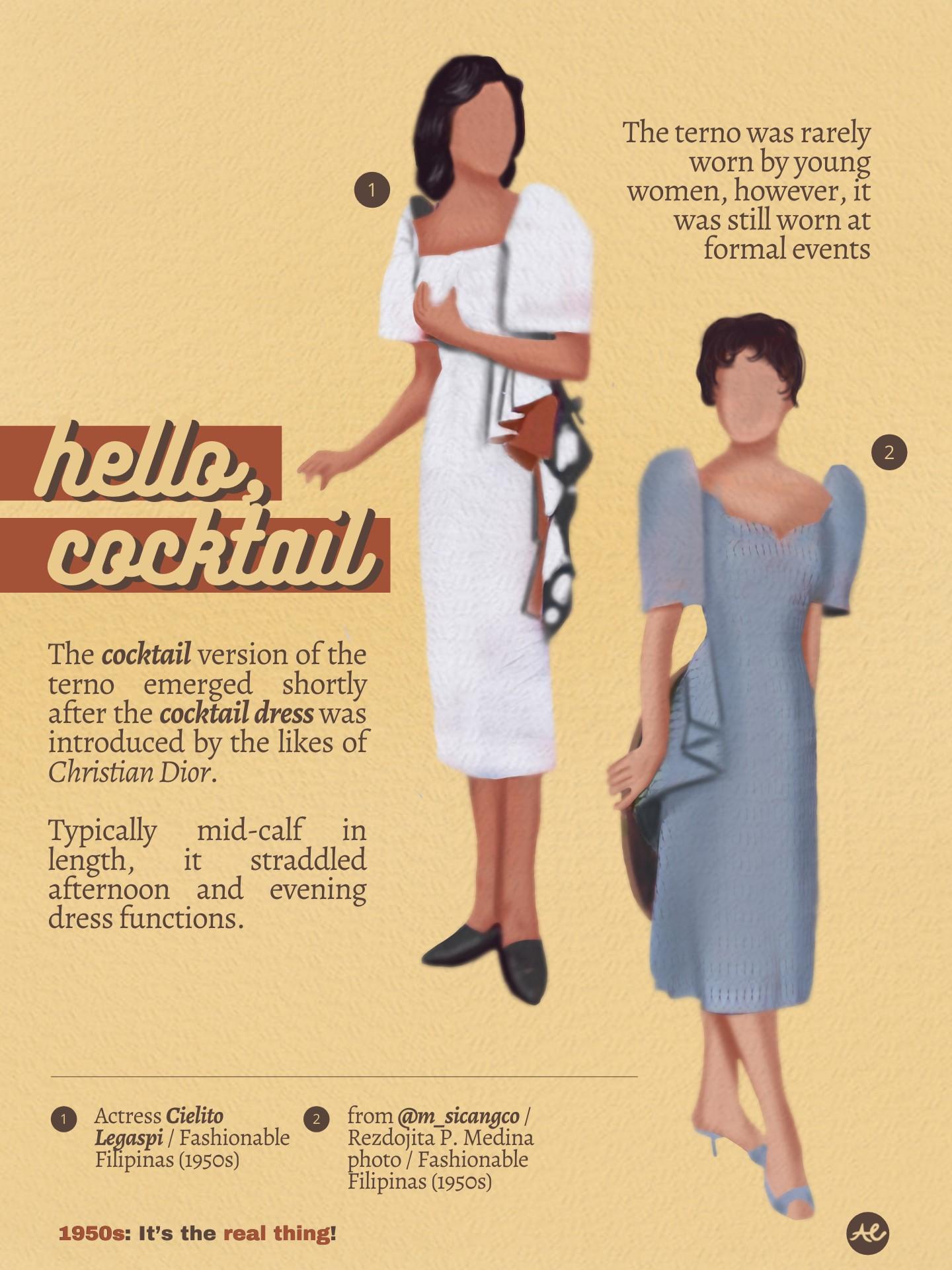 Women's Fashion, 1950s Cocktail Dress Ternos