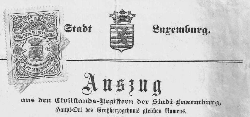 Form Letterhead for extract from Luxemburg Birth Records  (copyright G.K. Jakobs)