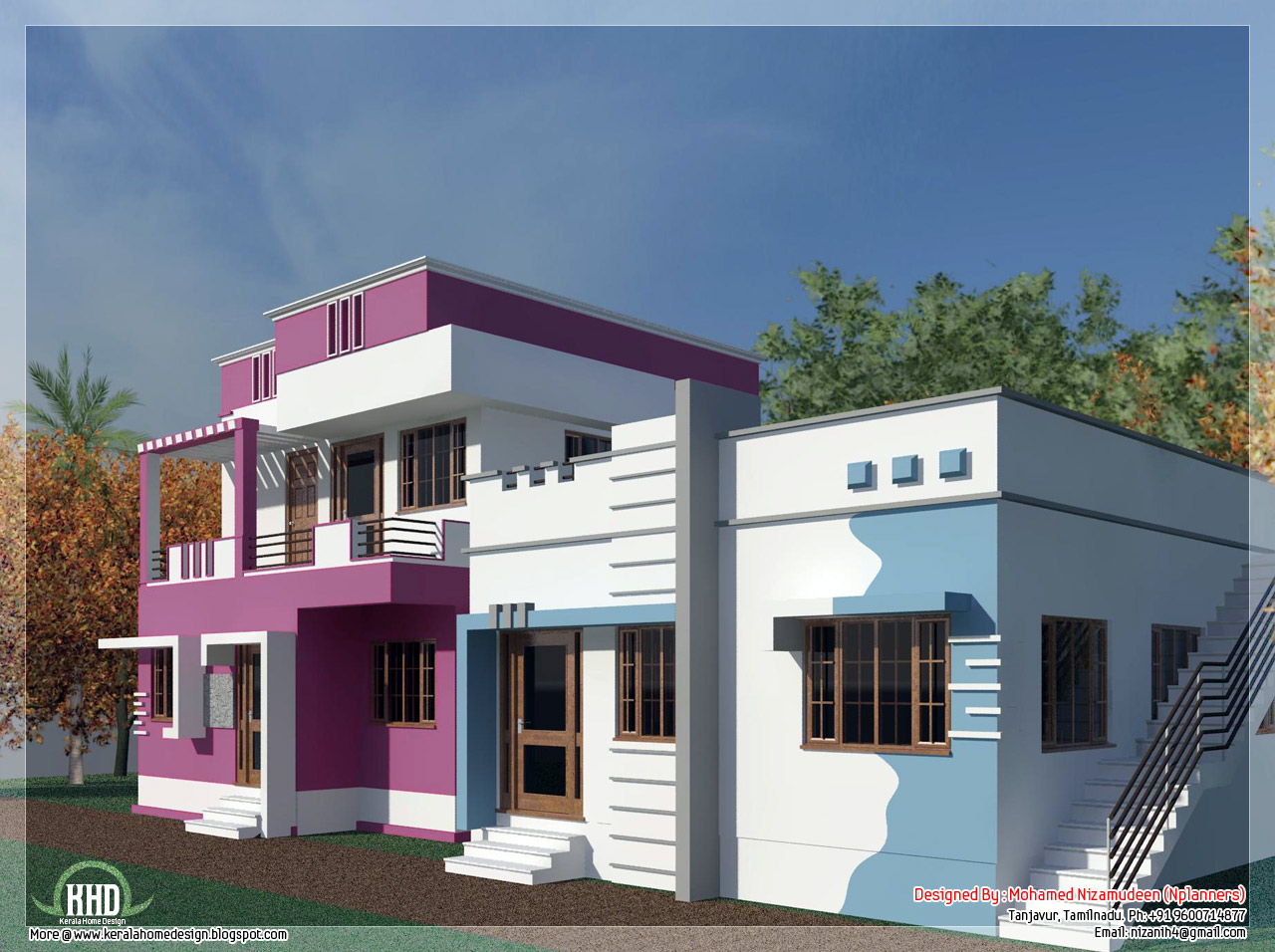 Tamilnadu model home design in 3000 kerala home for Indian house portico models
