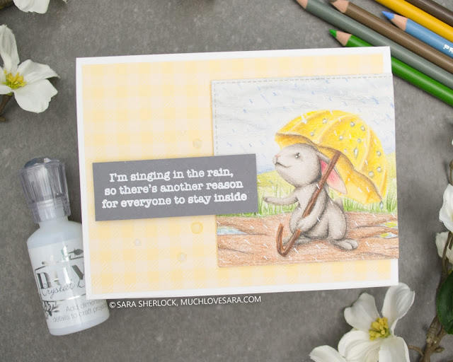 Sweet Sentiment Stamps, bunny, spring, rain, spring rain, colored pencil, Prismacolor pencil, coloring, card, handmade card, diy card