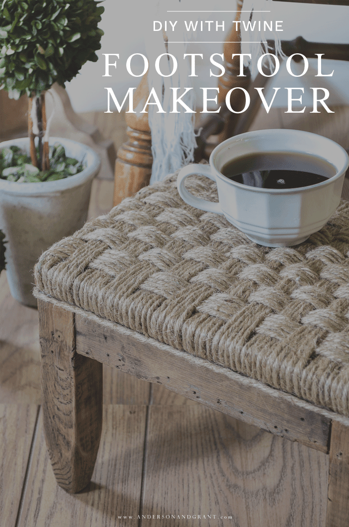 DIY Upholstered Footstool with Twine