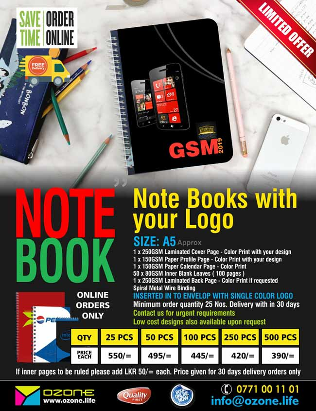 Notebooks with your Logo and details.