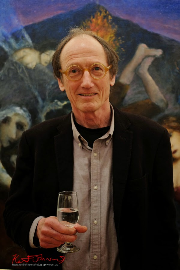 Portrait of Garry Shead at the opening of his exhibition The Antipodean Divine Comedy; Australian Galleries Sydney