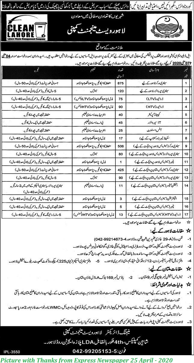 Lahore Waste Management Company Jobs 2020 - 2400+ Posts Announced LWMC