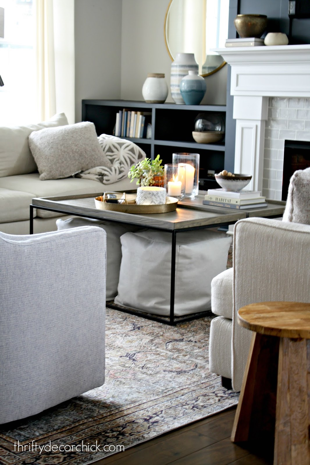 two coffee tables to create a large one
