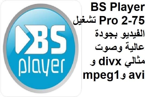 BS Player Pro 2-75 تشغيل الفيديو بجودة عالية وصوت مثالي divx و avi وmpeg1