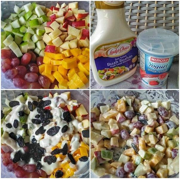 Resepi Salad Buah-Buahan, Buat Siap-Siap Nanti Simpan Dalam Peti Sejuk