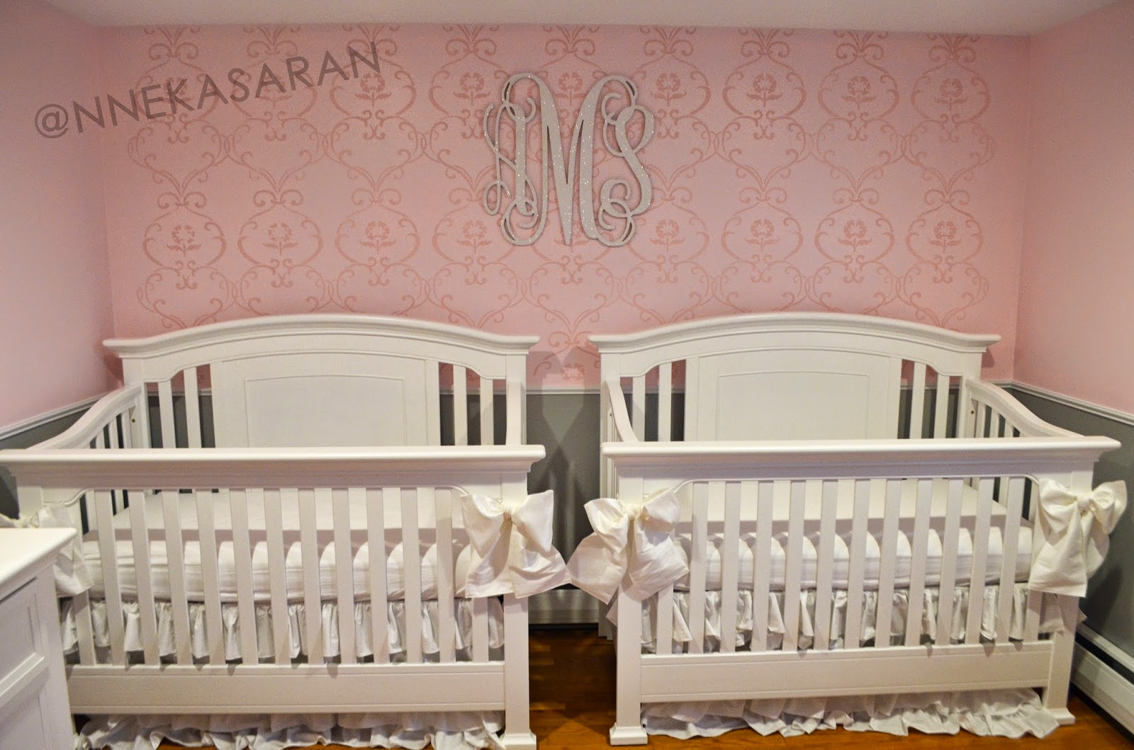 for all things creative my twin girls nursery pink grey