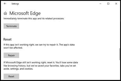 What are the steps to reset microsoft edge browser?