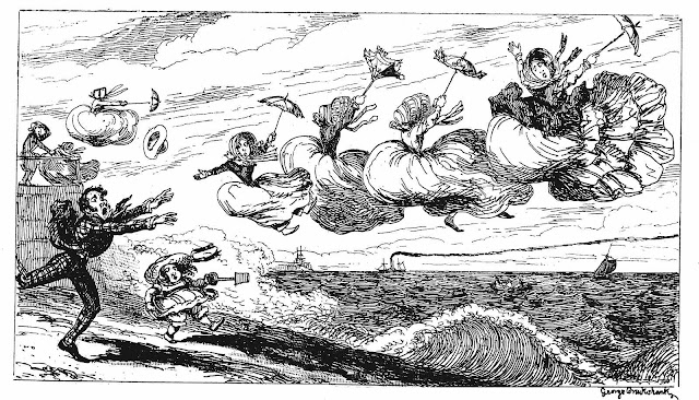 George Cruickshank 1850 cartoon about beach wind