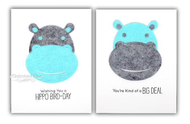 Felt Hippo Birthday Cards by Understand Blue