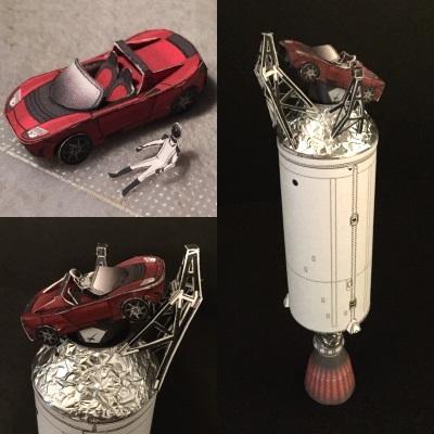 Falcon Heavy with Tesla Roadster Paper Model