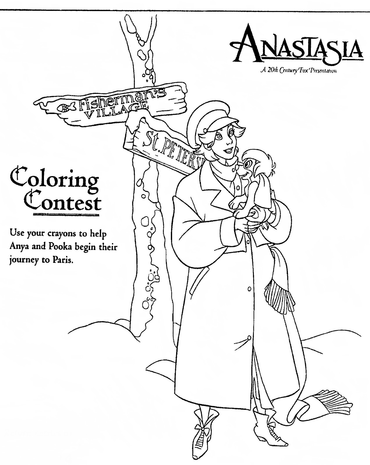Mostly Paper Dolls: ANASTASIA Movie Coloring Contests, 1997