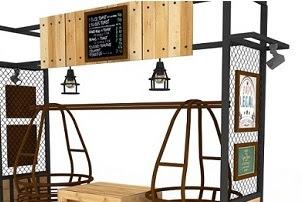 Jasa design booth minuman es cendol unik modern