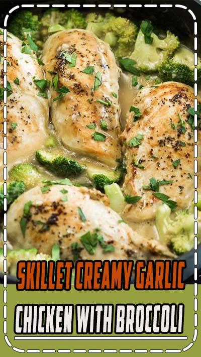 Skillet Creamy Garlic Chicken and Broccoli everyone will love!