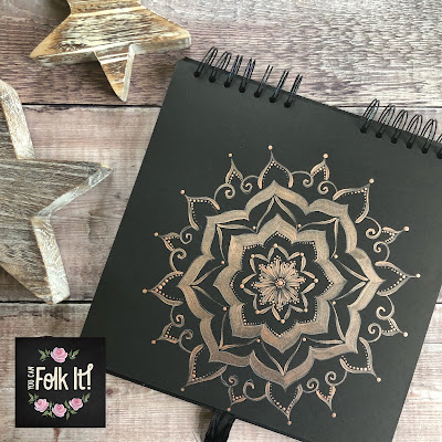 Hand painted mandala in Rose Gold Dazzling Metallic paint on black painting journal
