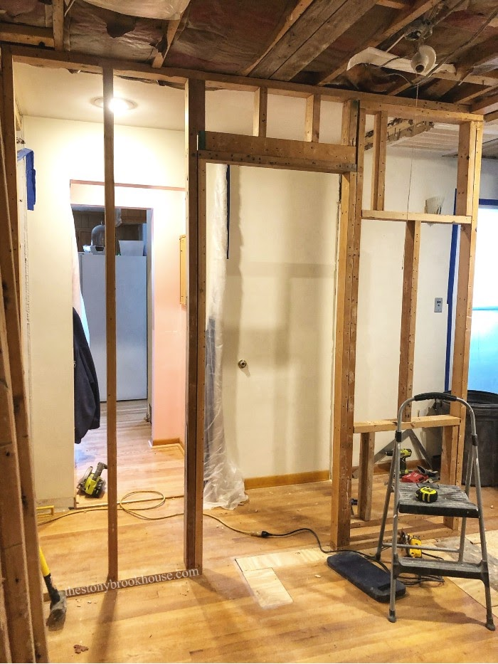 Doorway and wall frame up