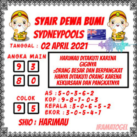 Syair Dewa Bumi Sidney Jumat 02 April 2021