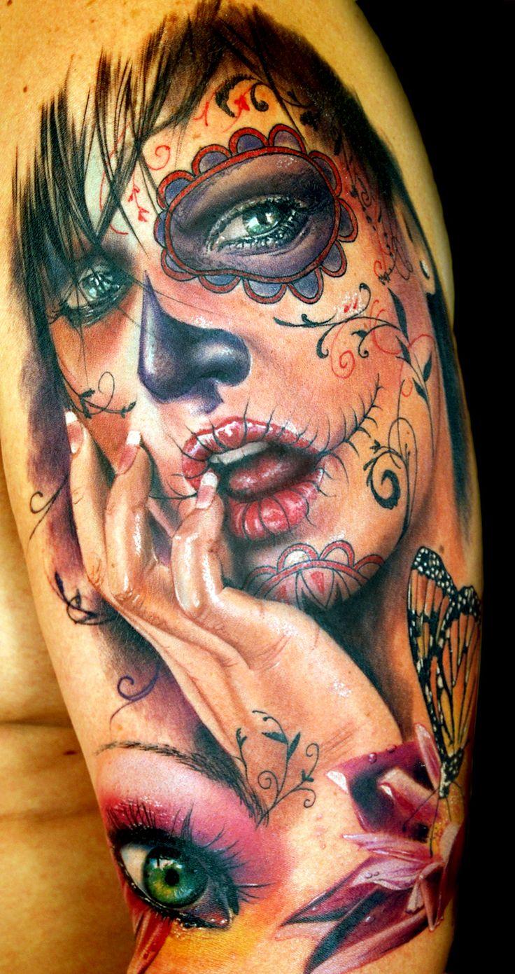 Vemos la foto de un tatuaje de catrina bonito para mujer